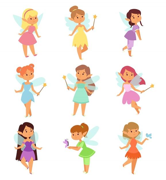 Set di personaggi dei cartoni animati di fate. Vettore Premium