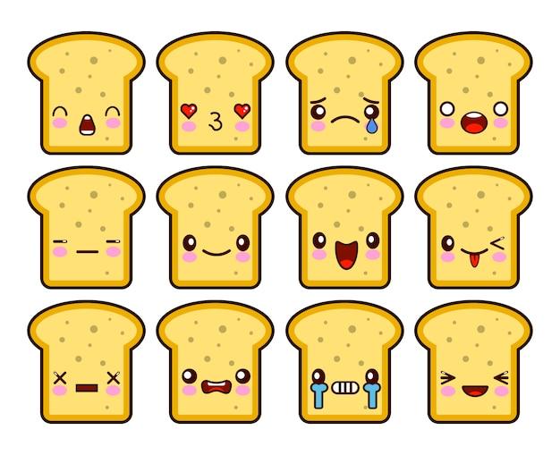 Set di personaggi dei cartoni animati di pane tostato kawaii fetta Vettore Premium