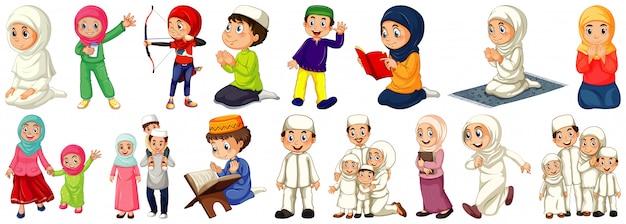 Set di personaggi dei cartoni animati di persone diverse su sfondo bianco Vettore gratuito