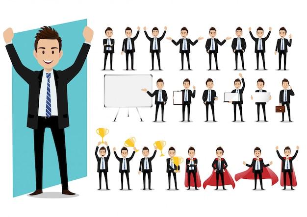 Set di personaggi dei cartoni animati di un uomo d'affari in un vestito in varie pose vettoriale Vettore Premium