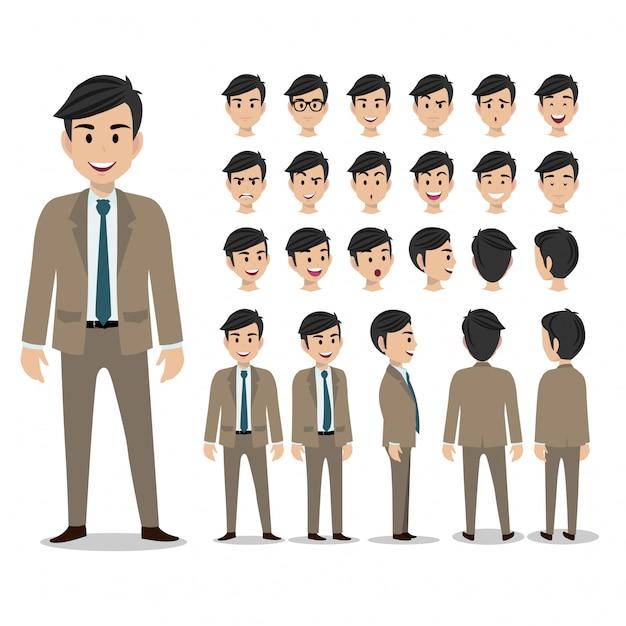 Set di personaggi dei cartoni animati di un uomo d'affari Vettore Premium