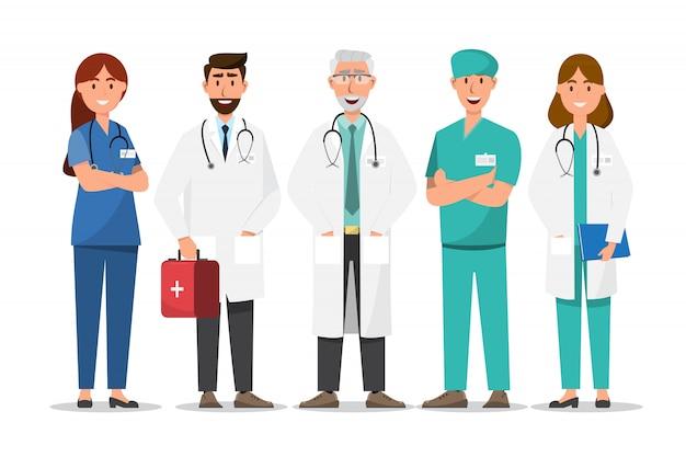 Set di personaggi dei cartoni animati medico. concetto del gruppo del personale medico in ospedale Vettore Premium