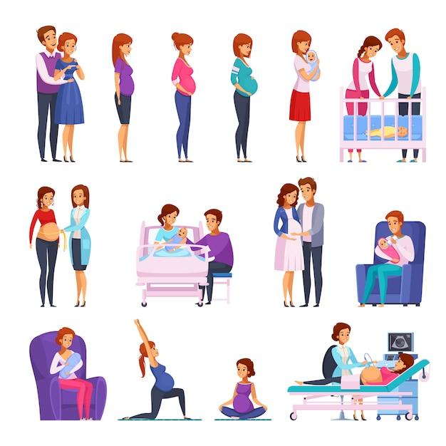 Set di personaggi dei cartoni animati neonato gravidanza Vettore gratuito