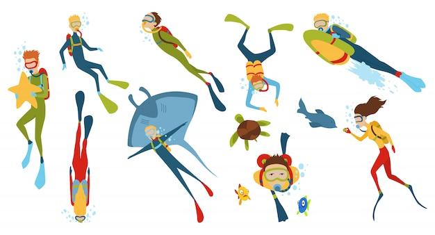 Set di personaggi dei cartoni animati Vettore Premium