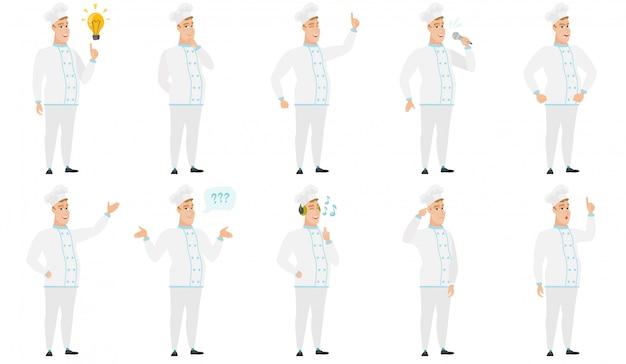Set di personaggi dello chef. Vettore Premium