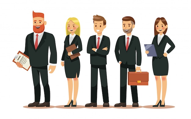 Set di personaggi di persone per affari Vettore Premium