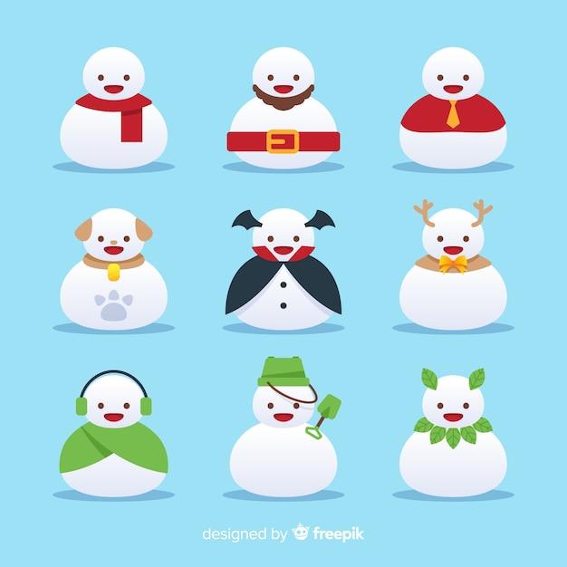 Set di personaggi di pupazzi di neve Vettore gratuito