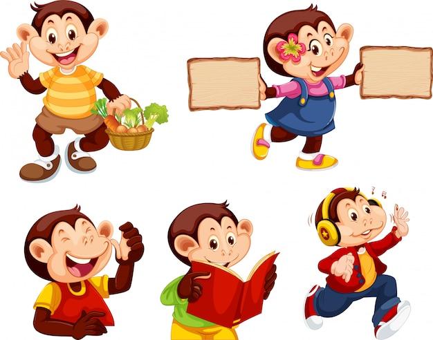 Set di personaggio dei cartoni animati di scimmia Vettore gratuito