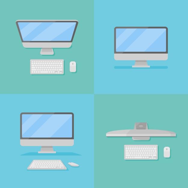 Set di personal computer desktop con monitor Vettore Premium