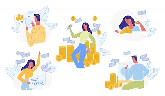 Set di persone e denaro isolato Vettore Premium