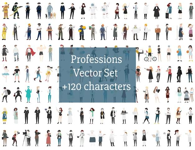 Set di persone illustrate Vettore gratuito