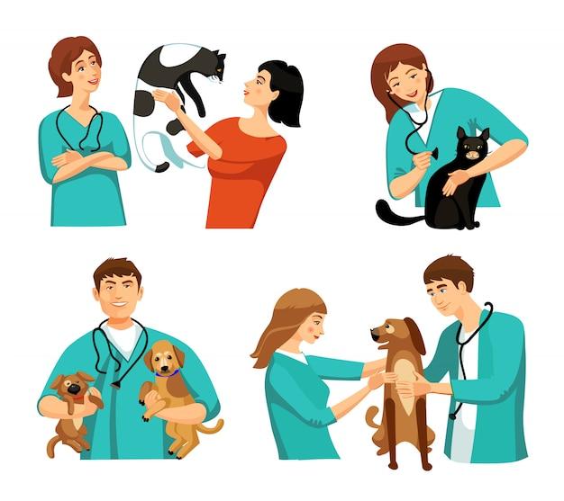 Set di persone veterinarie Vettore gratuito