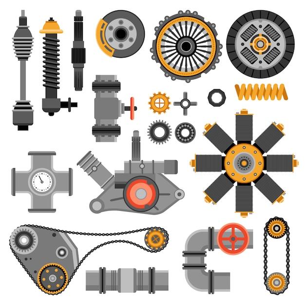Set di pezzi meccanici Vettore gratuito