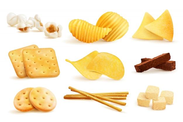 Set di pezzi snack salati Vettore gratuito