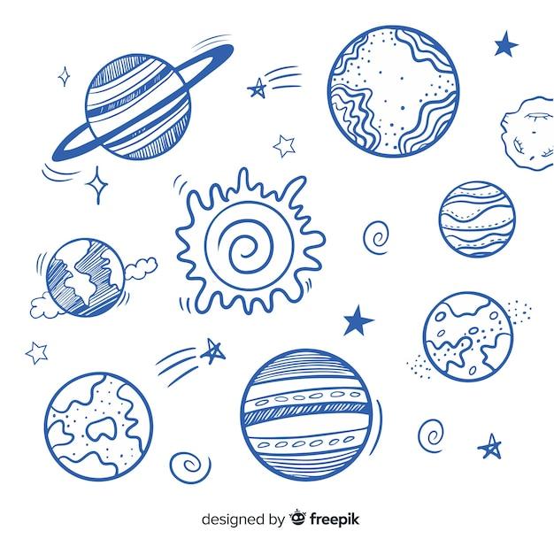 Set di pianeti colorati della via lattea Vettore gratuito