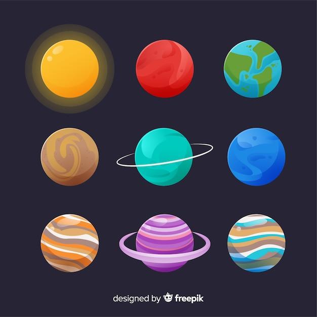 Set di pianeti colorati nel sistema solare Vettore gratuito