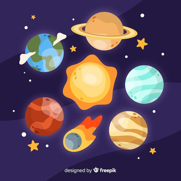 Set di pianeti della via lattea Vettore gratuito