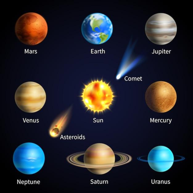 Set di pianeti realistici Vettore gratuito
