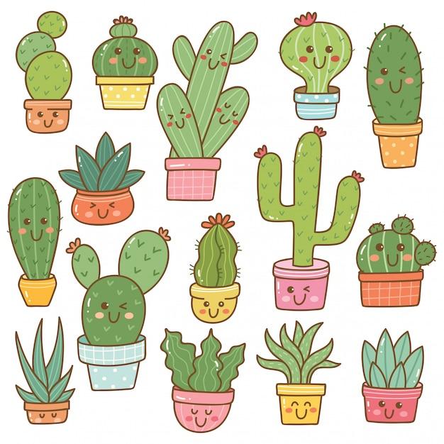 Set di piante di cactus in kawaii Vettore Premium