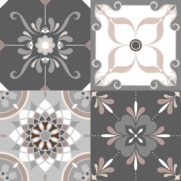 Set di piastrelle da pavimento Vettore gratuito