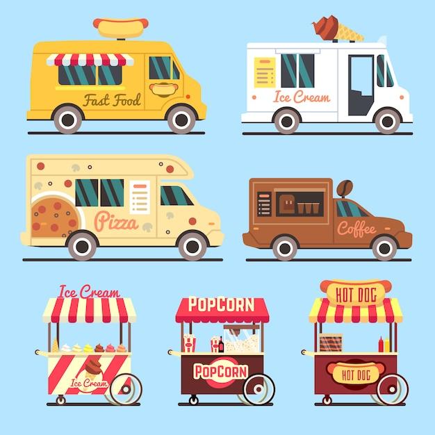 Set di piatti di consegna fast food di strada. camion di strada veloce cibo Vettore Premium