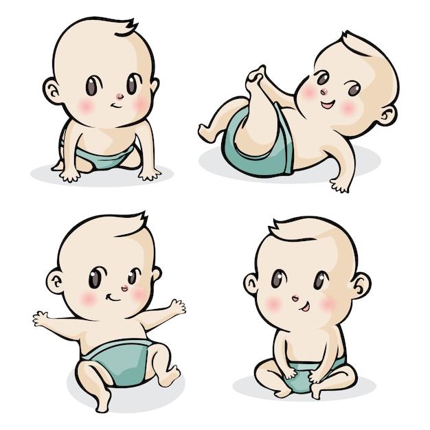 Set di piccoli bambini simpatico cartone animato Vettore Premium