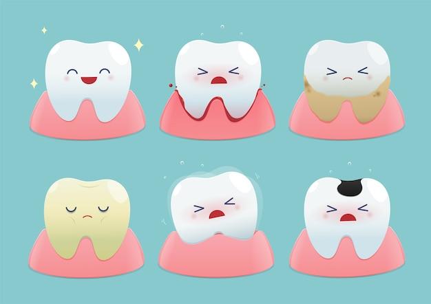 Set di piccoli denti carini su sfondo blu - totale problemi di salute e dentali. Vettore Premium