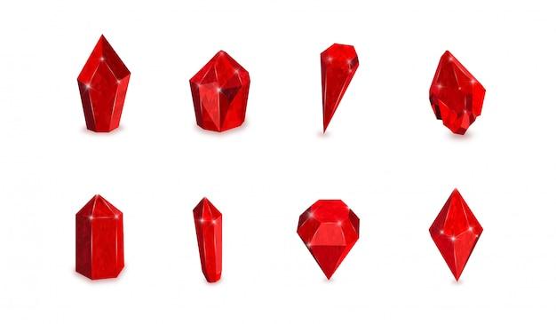 Set di pietre preziose rosse. illustrazione vettoriale di rubini Vettore Premium