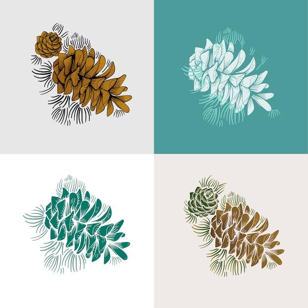 Set di pino Vettore gratuito