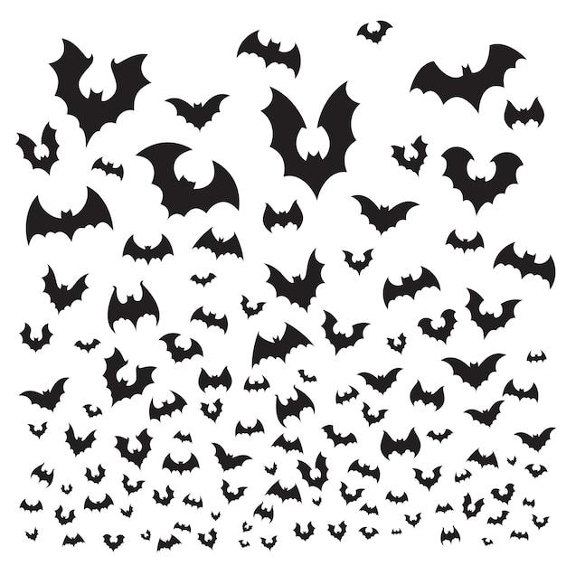 Set di pipistrelli di halloween volanti Vettore Premium