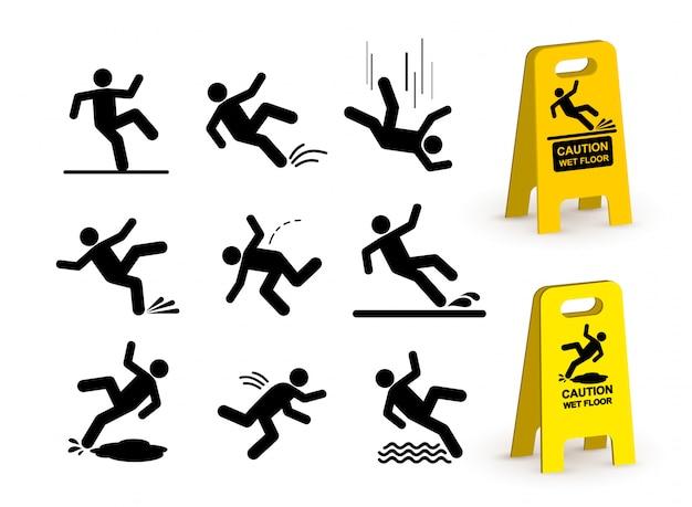 Set di pittogramma sagoma persona che cade. Vettore Premium