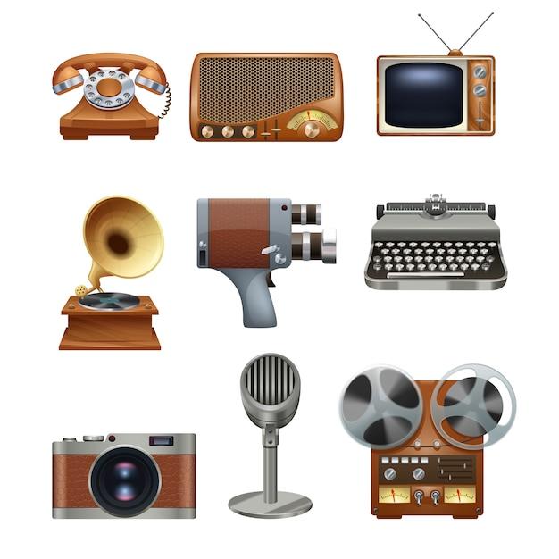 Set di pittogrammi di dispositivi vintage retrò Vettore gratuito
