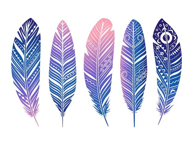 Set di piume di colore. piume tribali abbozzate mano isolate su bianco Vettore Premium