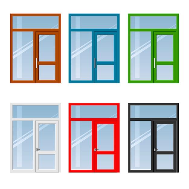 Set di porte e finestre Vettore Premium