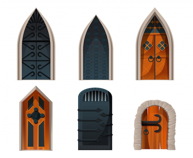 Set di porte, voci medievali in legno e metallo. Vettore gratuito