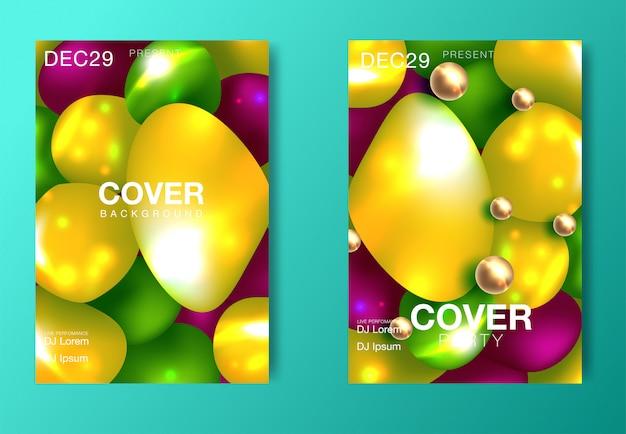 Set di poster di festa moderna. ambiti di provenienza psichedelici astratti variopinti di pendenza. Vettore Premium