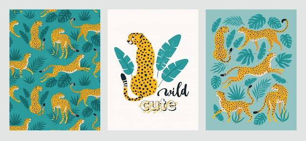 Set di poster di leopardi e foglie tropicali. Vettore Premium