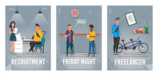 Set di poster di reclutamento, venerdì sera, libero professionista Vettore Premium