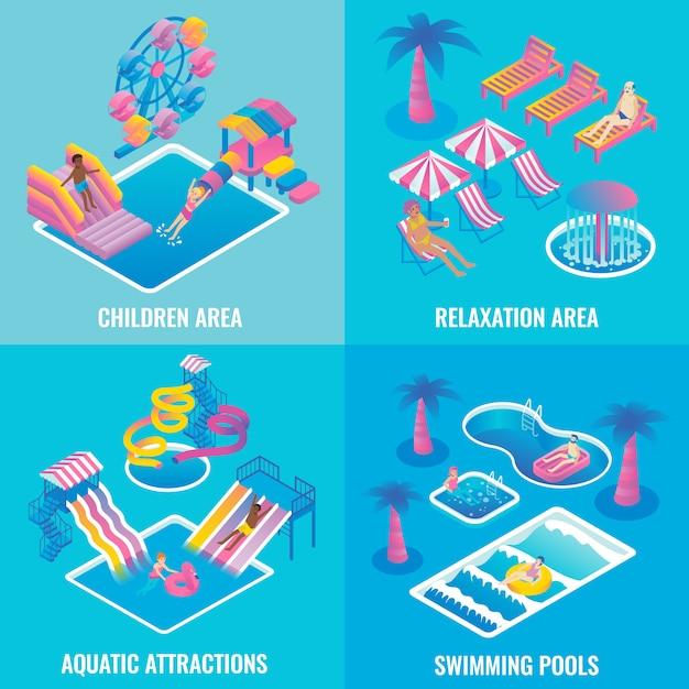 Set di poster piatto isometrico parco acquatico Vettore Premium