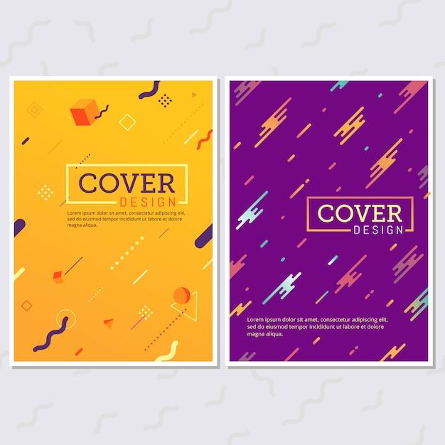 Set di poster stile memphis. sfondi a colori fluidi Vettore Premium
