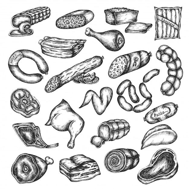 Set di prodotti a base di carne schizzo disegnato a mano. elementi di design per menu, macelleria, ristorante, grill bar. illustrazione vettoriale in stile vintage manzo, bistecca di maiale, pollo Vettore Premium