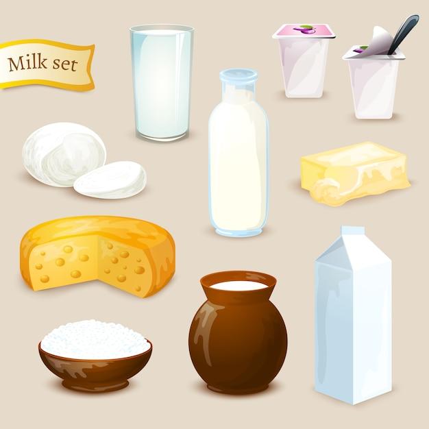 Set di prodotti a base di latte Vettore gratuito
