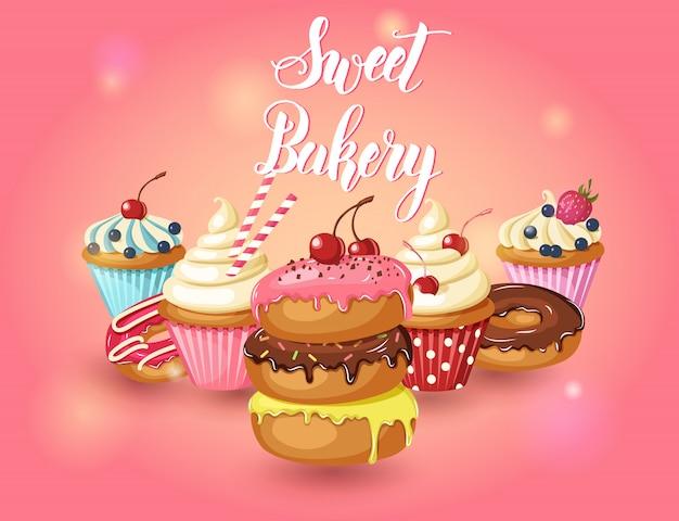 Set di prodotti da forno dolci. ciambelle vettoriali glassate, cupcakes con ciliegia, fragole e mirtilli sul rosa Vettore Premium