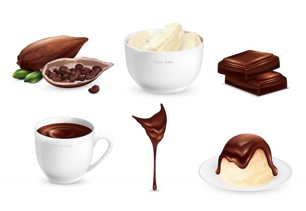 Set di prodotti di cacao Vettore gratuito