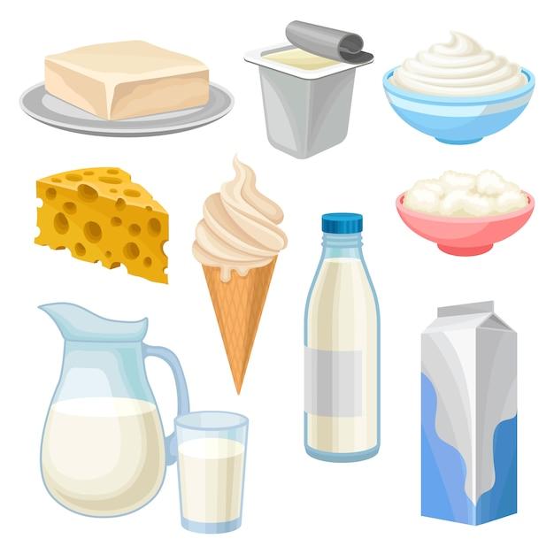 Set di prodotti lattiero-caseari, burro, yogurt, ciotola di panna acida e ricotta, gelato, brocca e bicchiere di latte e formaggio illustrazioni su sfondo bianco Vettore Premium