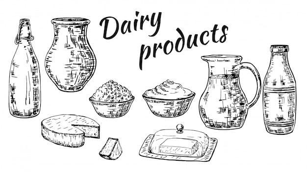 Set di prodotti lattiero-caseari stile schizzo disegnato a mano di inchiostro Vettore Premium