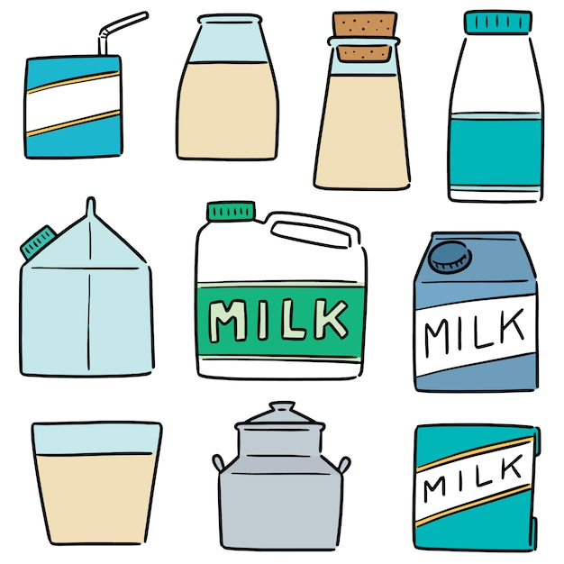 Set di prodotti lattiero-caseari Vettore Premium