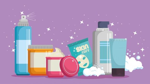 Set di prodotti per la cura del viso Vettore gratuito