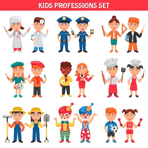 Set di professioni per bambini Vettore gratuito
