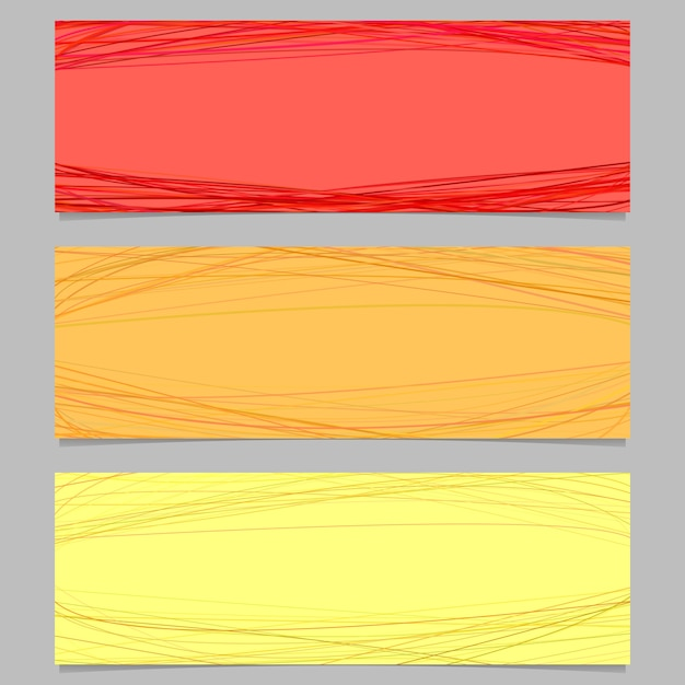 Set di progettazione banner orizzontale colorato - grafica vettoriale con curve casuali Vettore gratuito